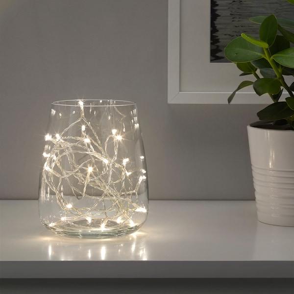 LEDFYR เลียดฟีร์ ไฟประดับ LED 24 ดวง, ใช้ในบ้าน สีเงิน