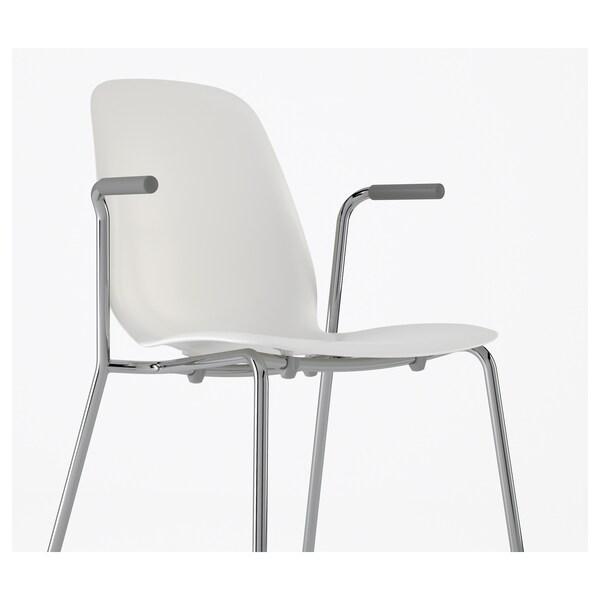 LEIFARNE เลฟาร์เน เก้าอี้มีที่วางแขน, ขาว/เดียทมาร์ ชุบโครเมียม