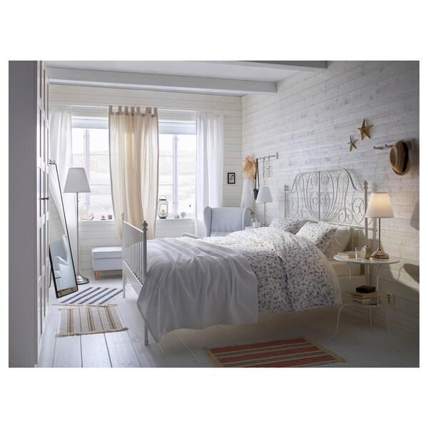 LEIRVIK เลียร์วีค โครงเตียง, ขาว/เลินเซ็ต, 180x200 ซม.