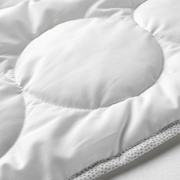LENAST เลียนาสต์ ผ้านวมเตียงเด็กอ่อน, ขาว/เทา, 110x125 ซม.
