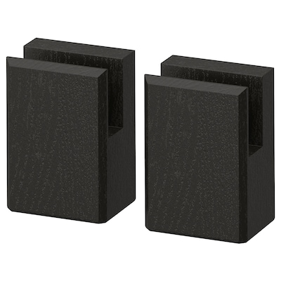 LERHYTTAN เลียร์ฮึตตัน ขาตู้สำหรับแผ่นปิดฐานตู้, ย้อมสีดำ, 8 ซม.