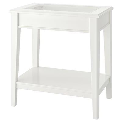 LIATORP ลีอาทอร์ป โต๊ะข้าง, ขาว/แก้ว, 57x40 ซม.