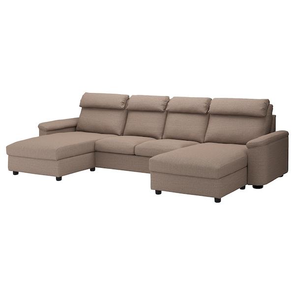 LIDHULT ลีดฮูลท์ โซฟา4ที่นั่ง, พร้อมเก้าอี้นวมยาว/เลย์เด เบจ/น้ำตาล