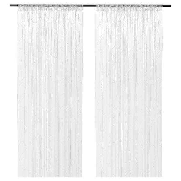LILLEGERD ลิลเลยาร์ด ผ้าม่านโปร่ง 1 คู่, ขาว ใบไม้, 145x250 ซม.