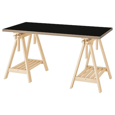 LINNMON ลินมูน / FINNVARD ฟินวอร์ด โต๊ะ, ดำ/ไม้อัด ไม้เบิร์ช, 150x75 ซม.