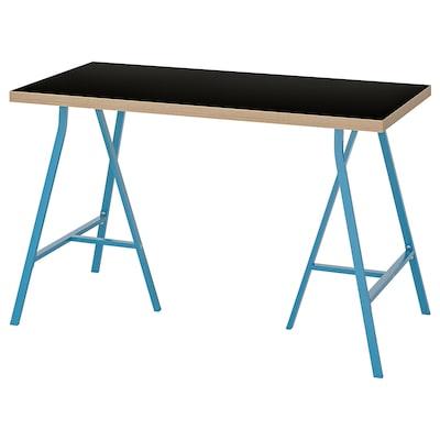 LINNMON ลินมูน / LERBERG แลร์แบร์ก โต๊ะ, ดำ ไม้อัด/น้ำเงิน, 120x60 ซม.