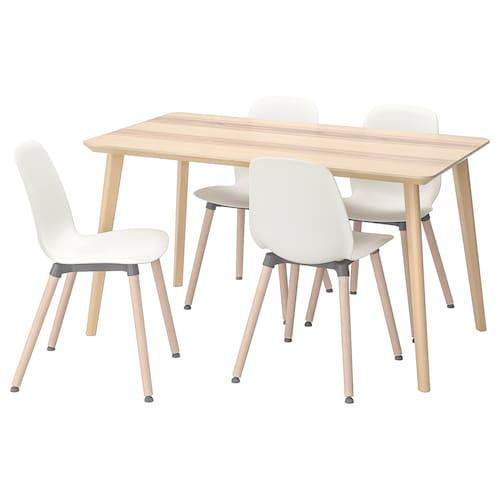 IKEA ลิซาโบ / เลฟาร์เน โต๊ะและเก้าอี้ 4 ตัว
