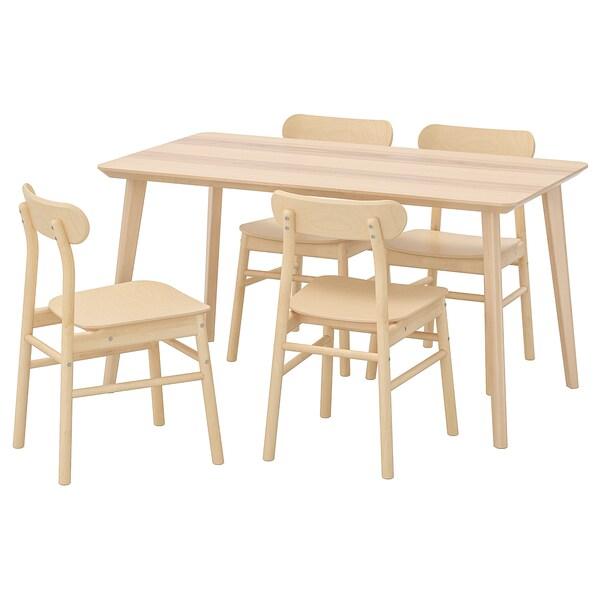 ลิซาโบ / เรินนิงเง โต๊ะและเก้าอี้ 4 ตัว วีเนียร์แอช/ไม้เบิร์ช 140 ซม. 78 ซม.