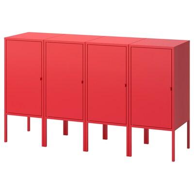 LIXHULT ลิกซ์ฮุลท์ ชุดตู้เก็บของ, แดง, 140x35x82 ซม.