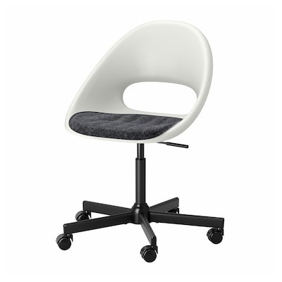 LOBERGET ลูเบเรียต / MALSKÄR มัลแควร์ เก้าอี้หมุนมีเบาะรองนั่ง, ขาว ดำ/เทาเข้ม