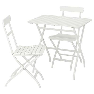MÄLARÖ แมลาร์เออ โต๊ะ+เก้าอี้ 2 ตัว กลางแจ้ง, ขาว