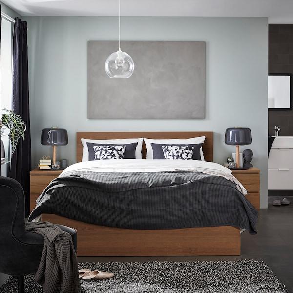 MALM มาล์ม โครงเตียงพื้นสูง, ย้อมสีน้ำตาล วีเนียร์แอช/ลูร์เอย, 150x200 ซม.