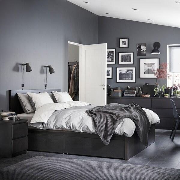 MALM มาล์ม โครงเตียงสูง+กล่องเก็บของ 4 ใบ, น้ำตาลดำ/เลินเซ็ต, 150x200 ซม.