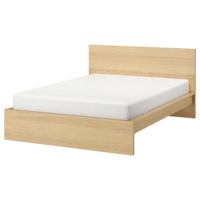 MALM มาล์ม โครงเตียงพื้นสูง, วีเนียร์สีไวท์โอ๊ค/ลูร์เอย, 150x200 ซม.