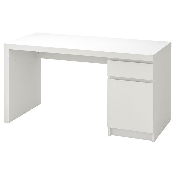 MALM มาล์ม โต๊ะทำงาน, ขาว, 140x65 ซม.