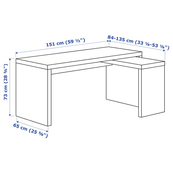 MALM มาล์ม โต๊ะทำงาน+โต๊ะเสริมมีล้อเลื่อน, น้ำตาลดำ, 151x65 ซม.