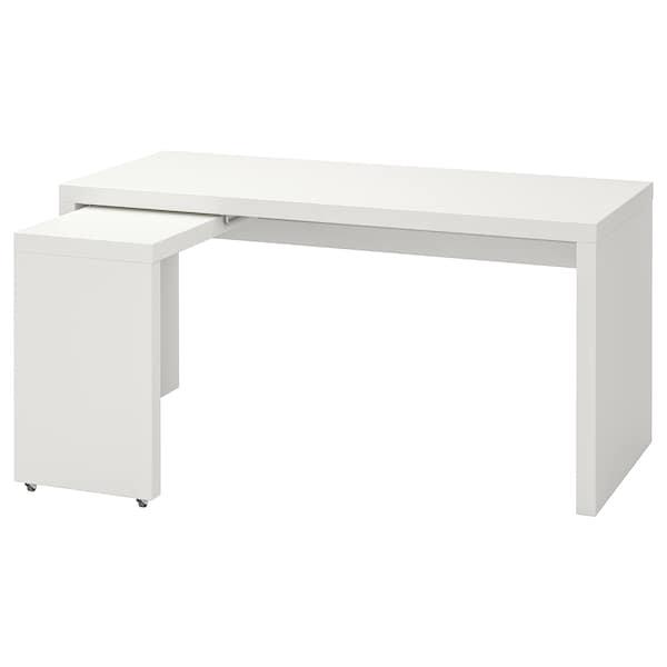MALM มาล์ม โต๊ะทำงาน+โต๊ะเสริมมีล้อเลื่อน, ขาว, 151x65 ซม.