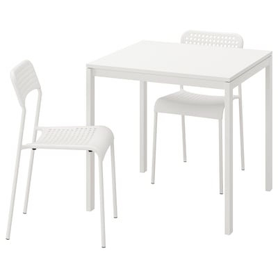 MELLTORP เมลทอร์ป / ADDE อ็อดเด ชุดโต๊ะและเก้าอี้ 2 ตัว, ขาว/ขาว, 75x75 ซม.