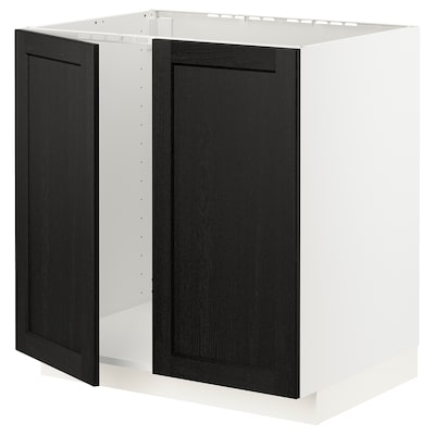 METOD เมท็อด ตู้ซิงก์บานคู่, ขาว/เลียร์ฮึตตัน ย้อมสีดำ, 80x60x80 ซม.
