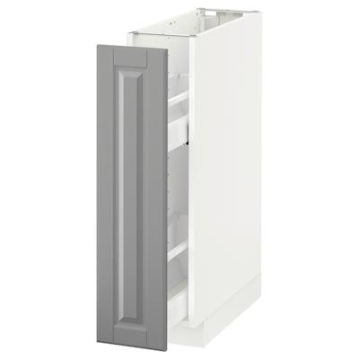 METOD เมท็อด ตู้พื้น/ตะแกรงลิ้นชัก, ขาว/บู๊ดบิน เทา, 20x60x80 ซม.