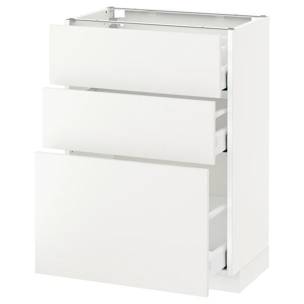เมท็อด ตู้พื้น 3 ลิ้นชัก, ขาว มักซีเมอร่า/แฮกเกบือ ขาว, 60x37x80 ซม.