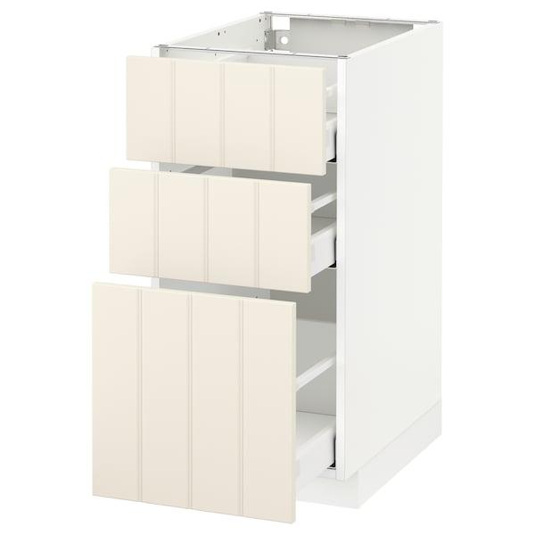 METOD เมท็อด ตู้พื้น 3 ลิ้นชัก, ขาว มักซีเมอร่า/ฮิททาร์ป ออฟไวท์, 40x60x80 ซม.