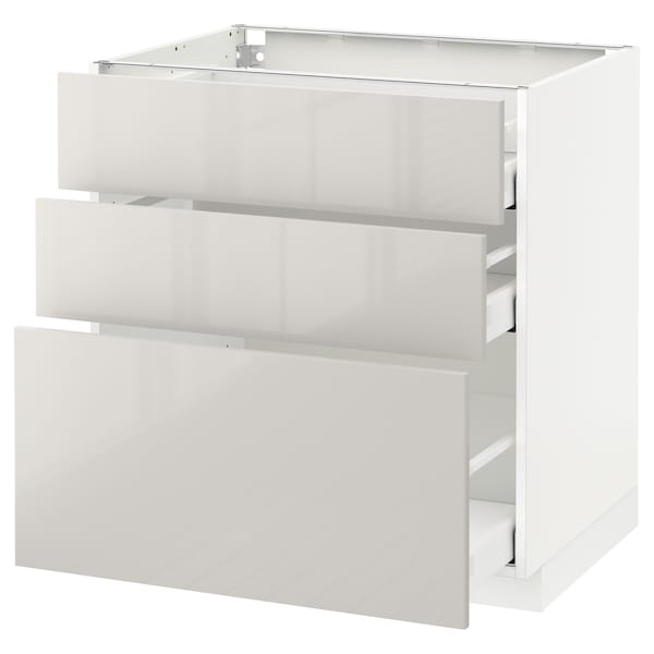เมท็อด ตู้พื้น 3 ลิ้นชัก, ขาว มักซีเมอร่า/ริงฮูลท์ เทาอ่อน, 80x60x80 ซม.