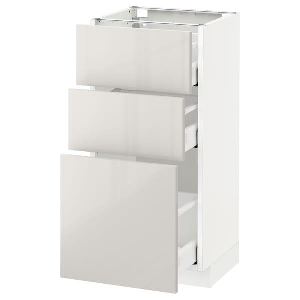 เมท็อด ตู้พื้น 3 ลิ้นชัก, ขาว มักซีเมอร่า/ริงฮูลท์ เทาอ่อน, 40x37x80 ซม.