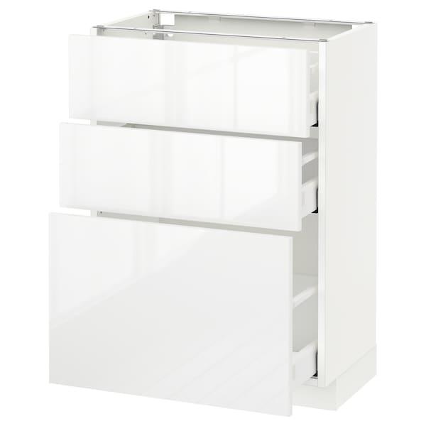 เมท็อด ตู้พื้น 3 ลิ้นชัก ขาว มักซีเมอร่า/ริงฮูลท์ ขาว 60.0 ซม. 37 ซม. 39.4 ซม. 80.0 ซม.