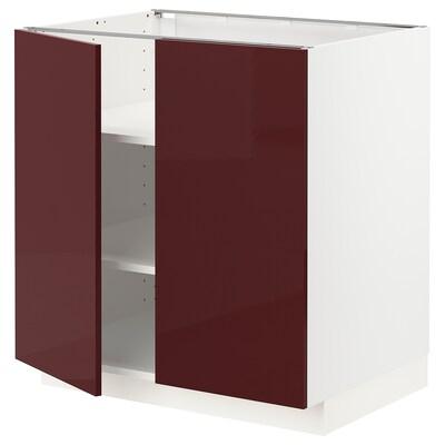 METOD เมท็อด ตู้พื้นบานคู่+ชั้นวาง, ขาว แคลลาร์ป/ไฮกลอส สีแดงอมน้ำตาลเข้ม, 80x60x80 ซม.