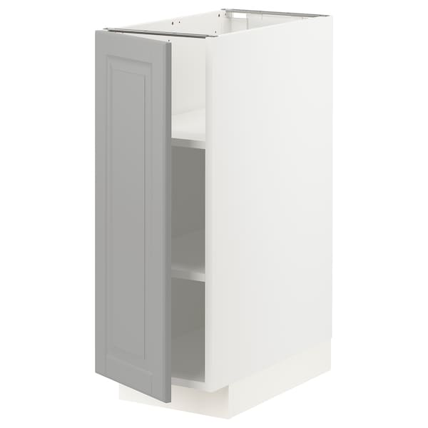 METOD เมท็อด ตู้ตั้งพื้นมีชั้นวาง, ขาว/บู๊ดบิน เทา, 30x60x80 ซม.