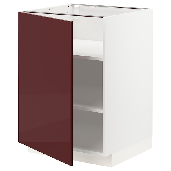 METOD เมท็อด ตู้ตั้งพื้นมีชั้นวาง, ขาว แคลลาร์ป/ไฮกลอส สีแดงอมน้ำตาลเข้ม, 60x60x80 ซม.