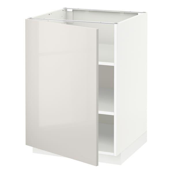 METOD เมท็อด ตู้ตั้งพื้นมีชั้นวาง, ขาว/ริงฮูลท์ เทาอ่อน, 60x60x80 ซม.