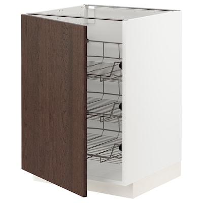 METOD เมท็อด ตู้ตั้งพื้น มีตะกร้าลวด, ขาว/ซีนาร์พ น้ำตาล, 60x60x80 ซม.