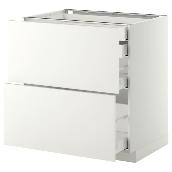 เมท็อด ตู้ตั้งพื้น4ลิ้นชัก/2หน้าลิ้นชัก ขาว มักซีเมอร่า/แฮกเกบือ ขาว 80.0 ซม. 61.6 ซม. 60.0 ซม. 80.0 ซม.