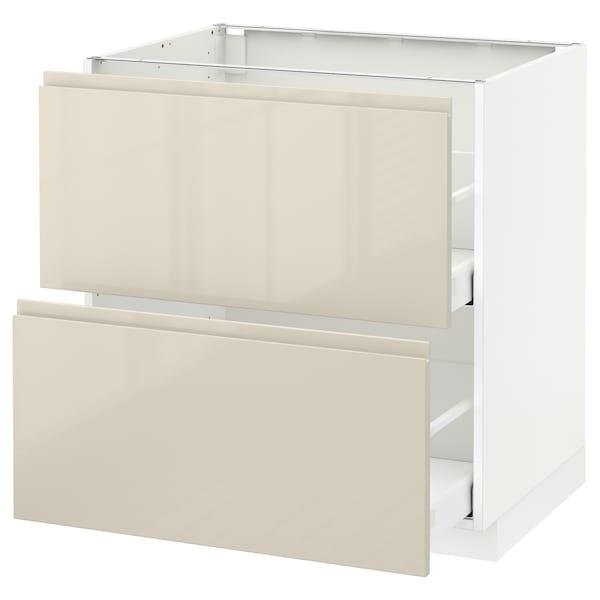 เมท็อด ตู้ตั้งพื้น2ลิ้นชัก/2หน้าลิ้นชัก ขาว มักซีเมอร่า/วอกซ์ทอร์ป สีเบจอ่อนไฮกลอส 80.0 ซม. 62.1 ซม. 88.0 ซม. 60.0 ซม. 80.0 ซม.