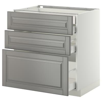 METOD เมท็อด ตู้ตั้งพื้น4ลิ้นชัก/3หน้าลิ้นชัก, ขาว มักซีเมอร่า/บู๊ดบิน เทา, 80x60x80 ซม.