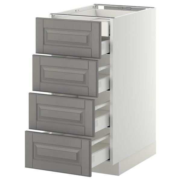 METOD เมท็อด ตู้ตั้งพื้น4บาน/ลิ้นชักเล็ก2-กลาง3, ขาว มักซีเมอร่า/บู๊ดบิน เทา, 40x60x80 ซม.