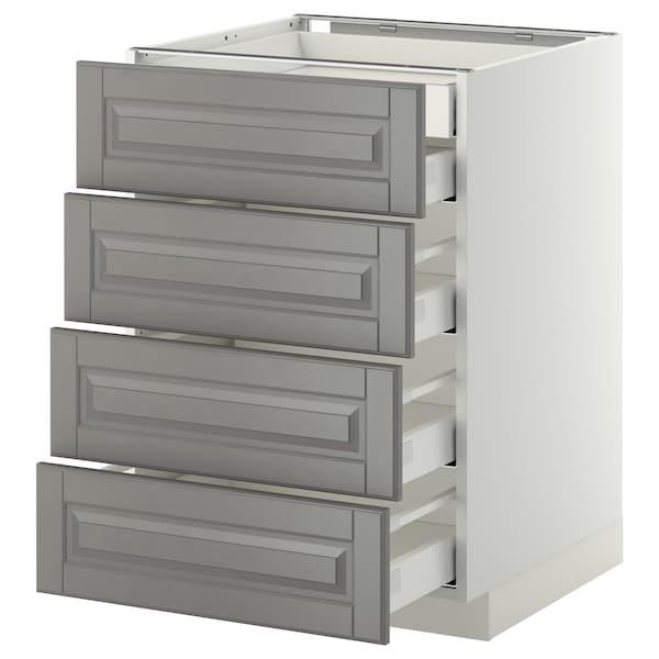 METOD เมท็อด ตู้ตั้งพื้น4บาน/ลิ้นชักเล็ก2-กลาง3, ขาว มักซีเมอร่า/บู๊ดบิน เทา, 60x60x80 ซม.