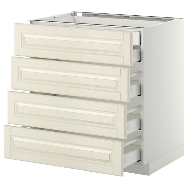 METOD เมท็อด ตู้ตั้งพื้น4บาน/ลิ้นชักเล็ก2-กลาง3, ขาว มักซีเมอร่า/บู๊ดบิน ออฟไวท์, 80x60x80 ซม.