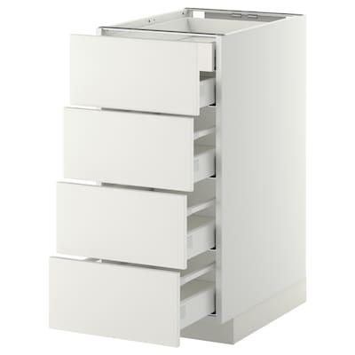 METOD เมท็อด ตู้ตั้งพื้น4บาน/ลิ้นชักเล็ก2-กลาง3, ขาว มักซีเมอร่า/แฮกเกบือ ขาว, 40x60x80 ซม.
