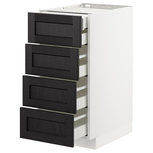 METOD เมท็อด ตู้ตั้งพื้น4บาน/ลิ้นชักเล็ก2-กลาง3, ขาว มักซีเมอร่า/เลียร์ฮึตตัน ย้อมสีดำ, 40x60x80 ซม.