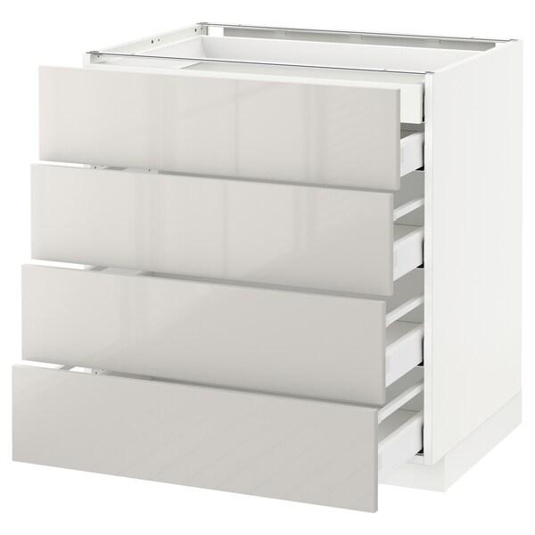 METOD เมท็อด ตู้ตั้งพื้น4บาน/ลิ้นชักเล็ก2-กลาง3, ขาว มักซีเมอร่า/ริงฮูลท์ เทาอ่อน, 80x60x80 ซม.