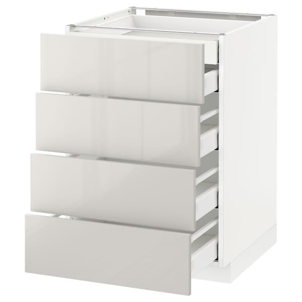 METOD เมท็อด ตู้ตั้งพื้น4บาน/ลิ้นชักเล็ก2-กลาง3, ขาว มักซีเมอร่า/ริงฮูลท์ เทาอ่อน, 60x60x80 ซม.