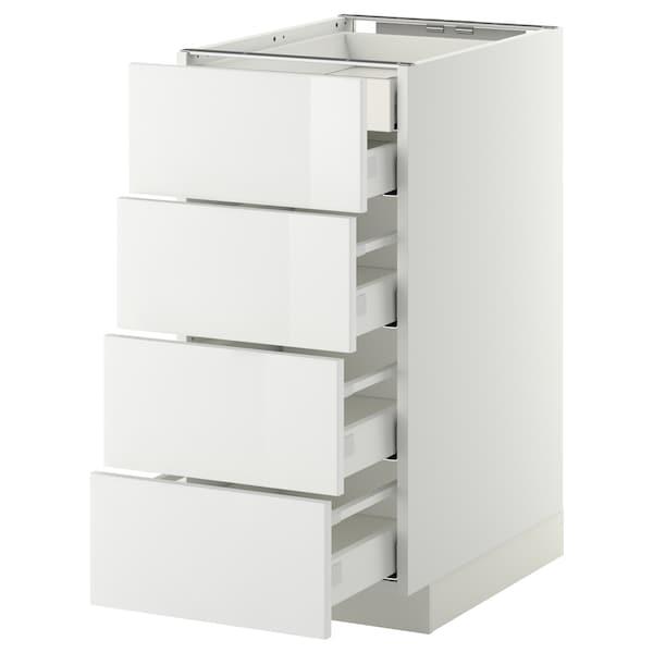 METOD เมท็อด ตู้ตั้งพื้น4บาน/ลิ้นชักเล็ก2-กลาง3, ขาว มักซีเมอร่า/ริงฮูลท์ ขาว, 40x60x80 ซม.