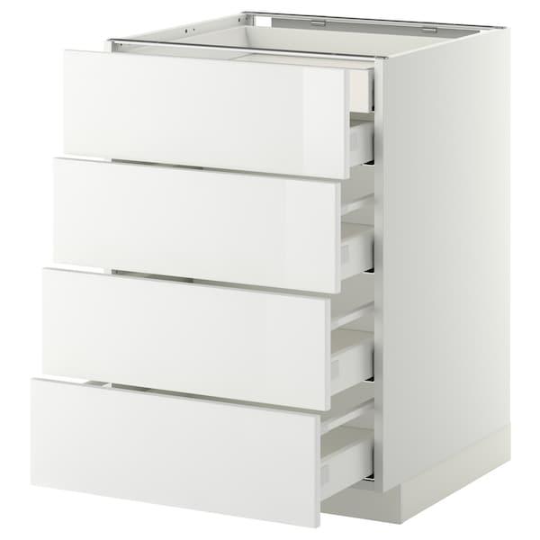METOD เมท็อด ตู้ตั้งพื้น4บาน/ลิ้นชักเล็ก2-กลาง3, ขาว มักซีเมอร่า/ริงฮูลท์ ขาว, 60x60x80 ซม.