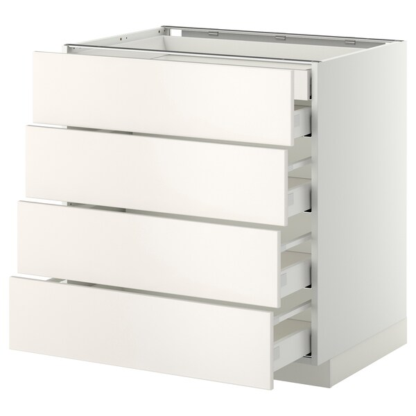 METOD เมท็อด ตู้ตั้งพื้น4บาน/ลิ้นชักเล็ก2-กลาง3, ขาว มักซีเมอร่า/เวียดดิงเง ขาว, 80x60x80 ซม.