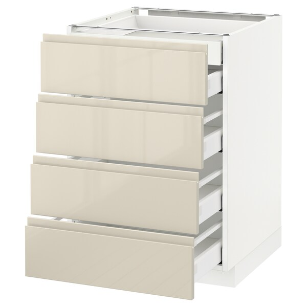 METOD เมท็อด ตู้ตั้งพื้น4บาน/ลิ้นชักเล็ก2-กลาง3, ขาว มักซีเมอร่า/วอกซ์ทอร์ป สีเบจอ่อนไฮกลอส, 60x60x80 ซม.