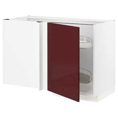 METOD เมท็อด ตู้ตั้งพื้นเข้ามุม+ตะแกรงลิ้นชัก, ขาว แคลลาร์ป/ไฮกลอส สีแดงอมน้ำตาลเข้ม, 128x68x80 ซม.