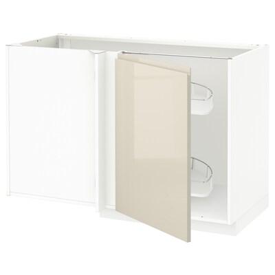 METOD เมท็อด ตู้ตั้งพื้นเข้ามุม+ตะแกรงลิ้นชัก, ขาว/วอกซ์ทอร์ป สีเบจอ่อนไฮกลอส, 128x68x80 ซม.